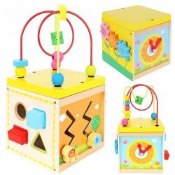 Drewniana kostka edukacyjna SORTER przeplatanka zegar zabawka dla dzieci