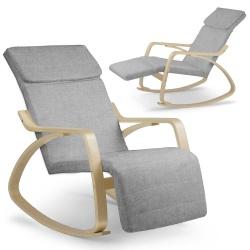 Fotel wypoczynkowy bujany leżanka zdejmowane obicie drewno z podnóżkiem