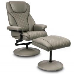 Fotel wypoczynkowy biurowy z ekoskóry z podnóżkiem grube oparcie szary