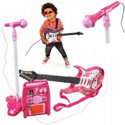 Gitara elektryczna dla dzieci mikrofon na statywie wzmacniacz zestaw muzyczny