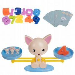 Gra edukacyjna dla dzieci rodzinna kotek i waga matematyczna karty do gry