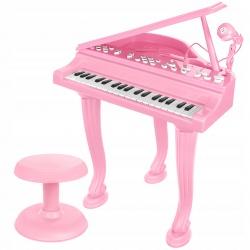 Fortepian dla dzieci różowy organy keyborad XL mikrofon taboret nagrywanie