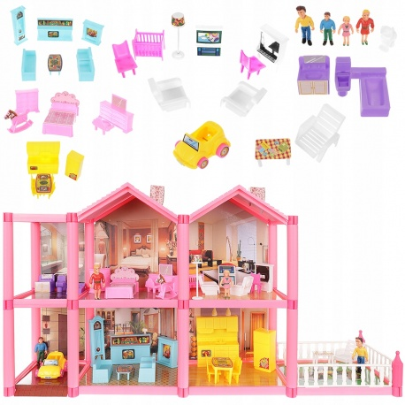 Domek dla lalek willa 4 lalki mebelki do zabawy 32 elementy garaż taras