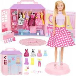 Domek dla lalek z ubrankami lalka przenośna szafa torebki stojak ubranka dla dzieci