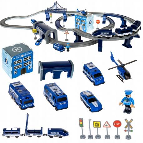 Tor samochodowy policja duży kolejka elektryczna pociąg helikopter