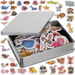 Magnesy na lodówkę różne zwierzątka 42 sztuki farma pudełko metalowe
