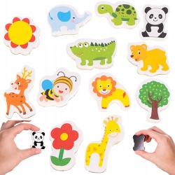 Kolorowe magnesy na lodówkę zwierzęta kwiat drzewko dla dzieci 12 sztuk