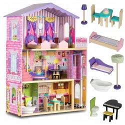 Drewniany domek dla lalek duży piętrowy meble taras winda 107 x 87 x 34 cm