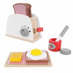 Drewniany toster dla dzieci zestaw akcesoria do robienia śniadań zabawka