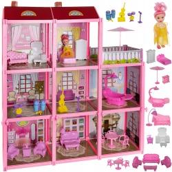 Duży domek dla lalek willa lalka mebelki do zabawy 24 elementy różowy DIY