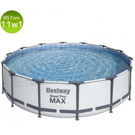 Basen ogrodowy 457 x 107 cm MAX stelażowy 11w1 Bestway 56488 jasny