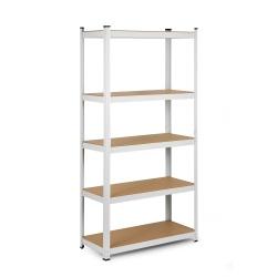 Metalowy regał magazynowy 180 x 90 x 40 cm biały obciążenie do 875 kg 5 półek