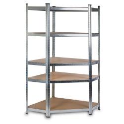 Metalowy regał magazynowy narożny 180 x 90 x 40 cm do 875 kg 5 półek