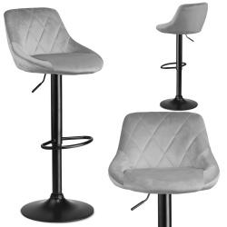 Hoker barowy krzesło z oparciem podnośnik welur jasnoszary lub czarny
