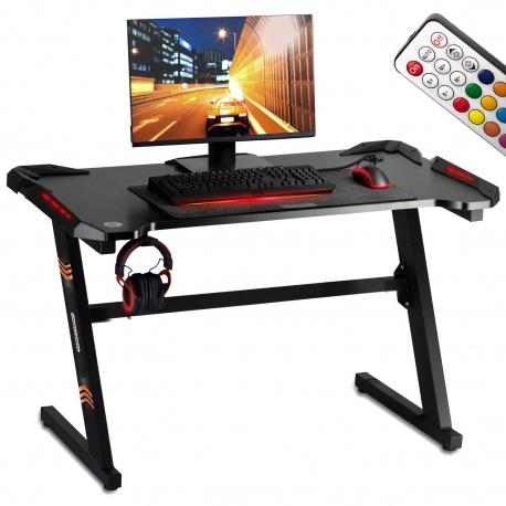 Biurko komputerowe dla graczy gamingowe oświetlenie LED pilot uchwyt na słuchawki