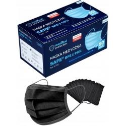 Maseczki chirurgiczne 50 sztuk maska na gumce SAFE BFE Typ II ES atest filtracja BFE 98% produkt polski kolor czarny