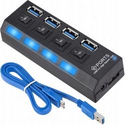 Hub USB 3.0 na 4 porty rozgałęźnik rozdzielacz włączniki do komputera