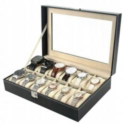 Organizer pudełko na biżuterię i zegarki kasetka 12 przegródek z szybką