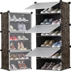 Regał na obuwie poziomowa szafka zamykana modułowa organizer 6 poziomów