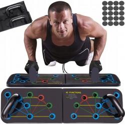 Uchwyty do robienia pompek deska z instrukcją Push Up do ćwiczeń 16w1