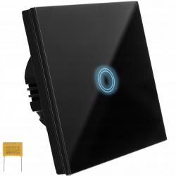 Szklany włącznik światła panel dotykowy pojedyńczy biały czarny podświetlany LED