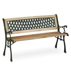 Ławka ogrodowa parkowa z oparciem drewno metal Fusio ozdobna 124 x 74 x 43 cm