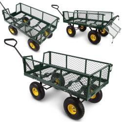 Metalowy wózek ogrodowy transportowy przyczepka składane burty ładowność 300 kg