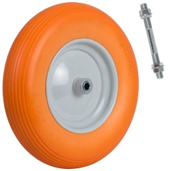 Koło do taczki bezdętkowe pełne PU 4.00-8 bieżnik liniowy pomarańczowe