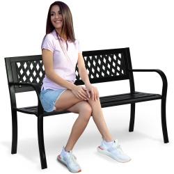 Solidna ławka ogrodowa parkowa z oparciem metalowa Clovera 125x77x49cm