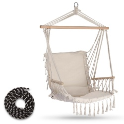 Krzesło wiszące brazylijskie huśtawka do ogrodu na taras 2Logos beżowe