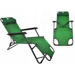 Krzesło turystyczne leżak 3-stopniowa regulacja 3 kolory zagłówek poduszka