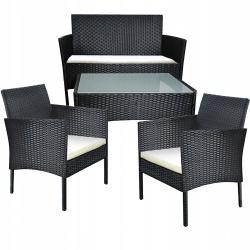 Zestaw mebli ogrodowych stół szklany krzesła sofa z technorattanu antracyt poduszki