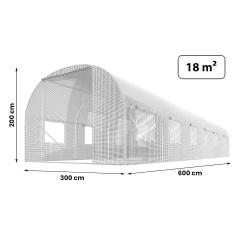 Duża szklarnia ogrodowa Plonos mocny tunel foliowy z oknami 3 x 6 m 18m2