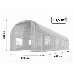 Tunel ogrodowy 3x4,5m (13,5m2) biały zielony foliowy szklarnia 8 okien