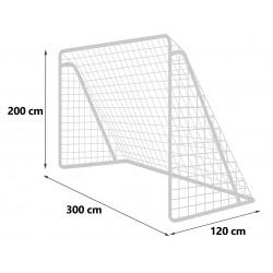 Bramka do piłki nożnej 300 x 200 x 120 cm metalowa piłkarska siatka PE