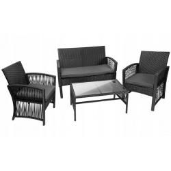 Zestaw mebli ogrodowych stół 2x krzesła poduszki sofa z technorattanu czarne