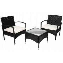 Meble ogrodowe balkonowe technorattanowe stół i dwa krzesła czarne