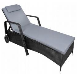 Leżak ogrodowy z materacem technorattanowy na kółkach łóżko XXL
