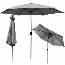 Duży parasol plażowy ogrodowy 3m łamany brązowy szary biały na korbkę