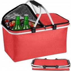 Kosz piknikowy termiczny z izolacją składany torba z rączką zamykany czerwony