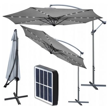 Parasol ogrodowy XXL 350cm na wysięgniku szary solarne oświetlenie 32LED