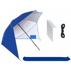 Parasol plażowy leżący 260cm stojący składany parawan XXL niebieski