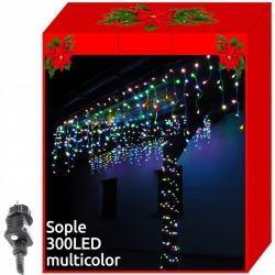 Sople lampki 300 LED zewnętrzne kurtyna 8 efektów świetlnych białe kolorowe