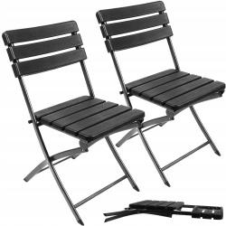 Krzesło ogrodowe składane cateringowe czarne 2 sztuki w komplecie zestaw