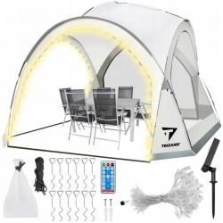 Pawilon ogrodowy z moskitierą namiot altana oświetlenie solarne 96 LED