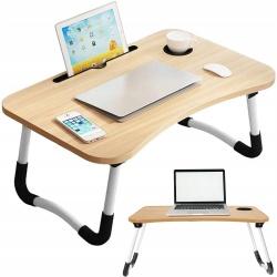 Składany stolik do laptopa podstawka na komputer tablet kubek do łóżka