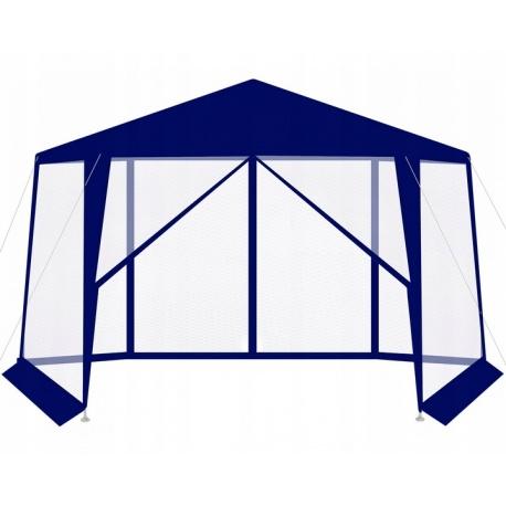 Pawilon ogrodowy namiot z moskitierą 6 ścian otwierany na suwak granatowy