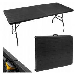 Rozkładany stół cateringowy 180 x 75 x 71 cm czarny przenośny turystyczny