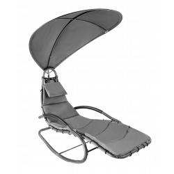 Huśtawka ogrodowa z daszkiem szara leżak bujany leżanka fotel ogrodowy
