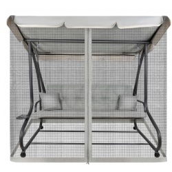Huśtawka ogrodowa z moskitierą szara ławka z oparciem rozkładana poduszki